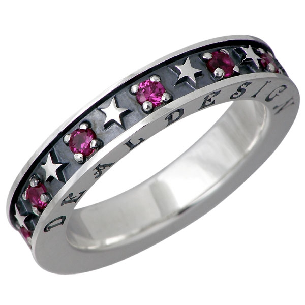 DEAL DESIGN Flash star silver ring / Synthetic ruby / red / Star
