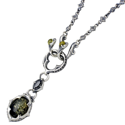 Artemis Classic tracery Green ambersilver pendant / neckless / amber
