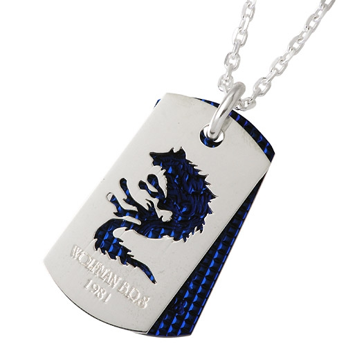 WOLFMAN B.R.S Wolf / dog tag silver pendant / necklace
