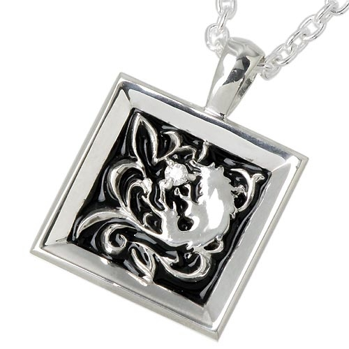 WOLFMAN B.R.S Palmetto wolf frame silver pendant with diamond / necklace