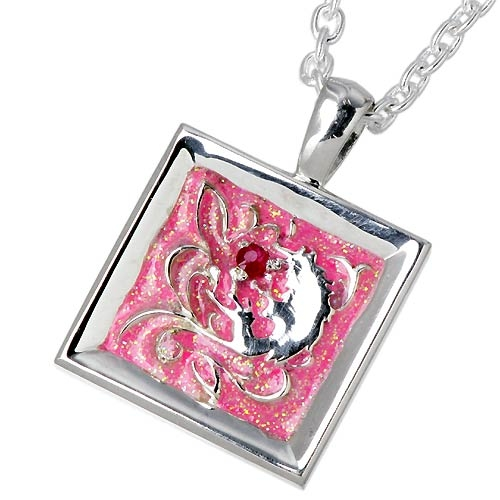 WOLFMAN B.R.S Palmetto wolf frame silver pendant with ruby / necklace