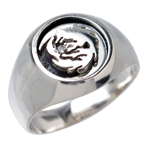 WOLFMAN B.R.S Moon wolf silver ring