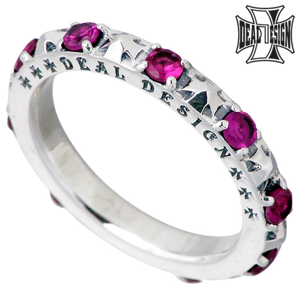 DEAL DESIGN Flash Tiny cross silver ring / Synthetic ruby / Cross