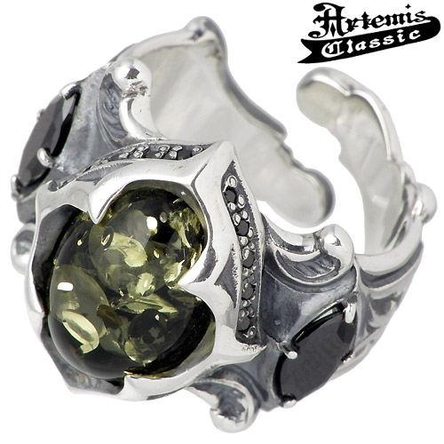 Artemis Classic tracery Green ambersilver ring / amber