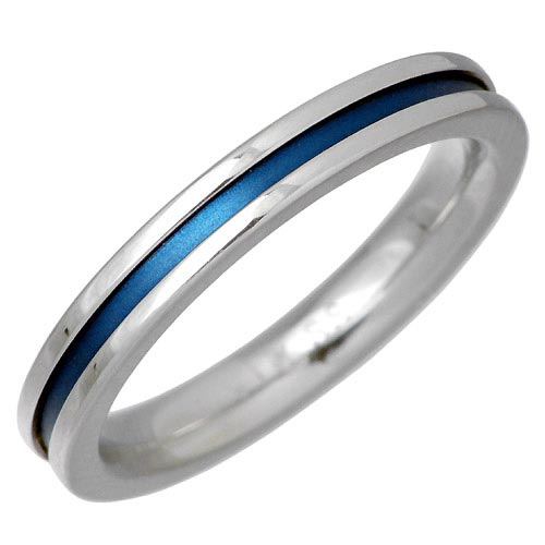 vie ヴィー ブルー ライン ステンレス リング 指輪 7 21号 青 buleを