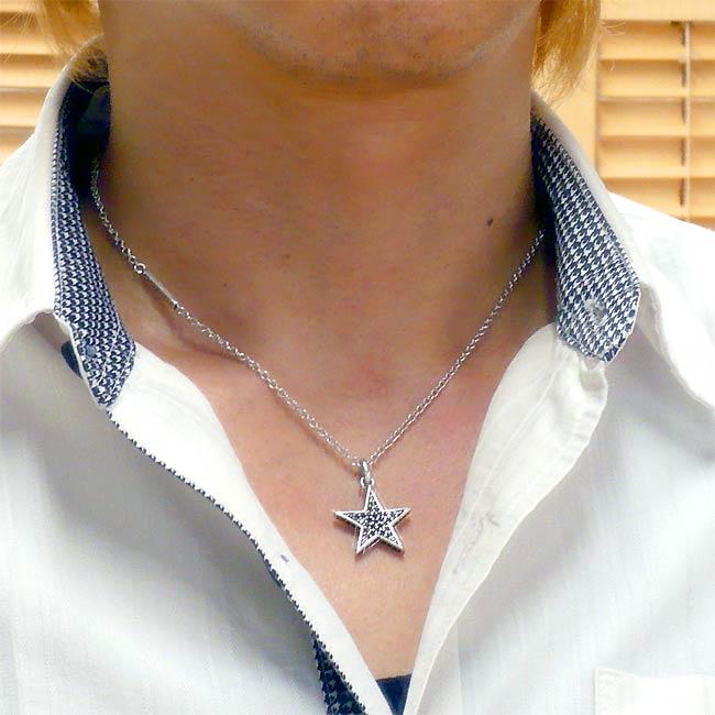 f4648bf392 RoenBLACK (ロエンブラック) スター ネックレス シルバーカラー キュービックジルコニア 星